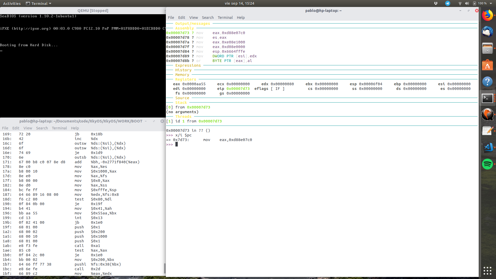 Debugging a MBR with GDB